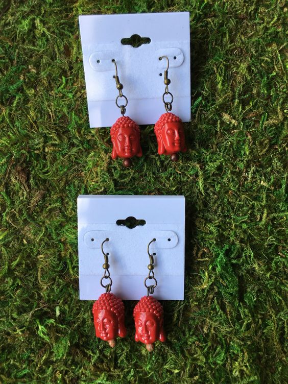 A personal favorite from my Etsy shop https://www.etsy.com/listing/453790662/red-buddha-head-earrings-dangle-earrings
