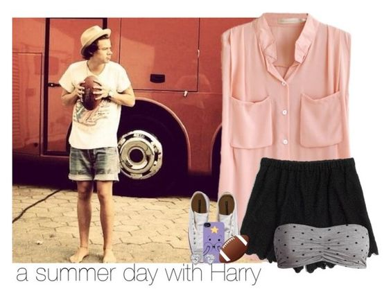 """""""a summer day with Harry"""" by vans-1 ❤ liked on Polyvore featuring Madewell, Sublevel, Converse, JouJou, Summer and harrystyles"""
