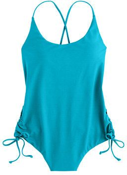 Italian matte ruched cross-back one-piece swimsuit