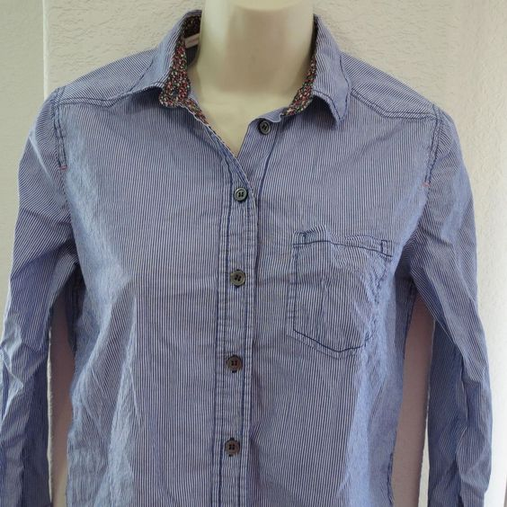 Meadow Rue Blue Pinstripe 2 Anthropologie Button Down Shirt Womens #532 #MeadowRue #ButtonDownShirt #Casual