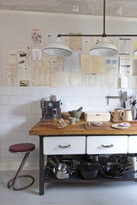 taburetes, mesas, complementos y lámparas para cocinas con estilo