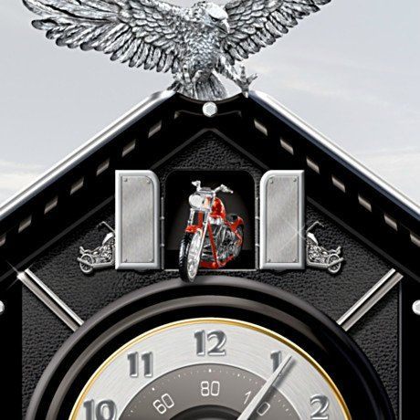 Motorcycle themed collectible wooden cuckoo clock time of freedom detail 1 cuckoo clocks - Motorcycle cuckoo clock ...