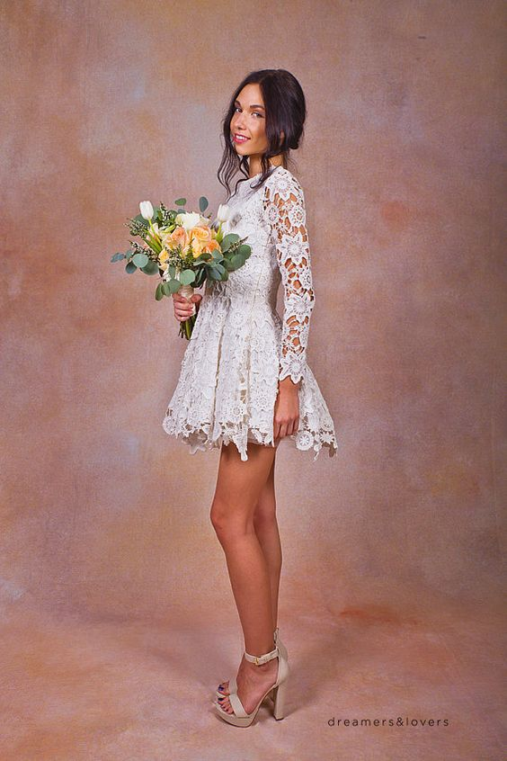 Daniela Lace SHORT WEDDING DRESS. ivory or white crochet lace bohemian wedding dress. long sleeves. Lace reception mini dress.
