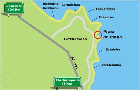 Map For Praia Do Pinho Beach Praia Do Pinho Beach In Brazil Is A - Praia map