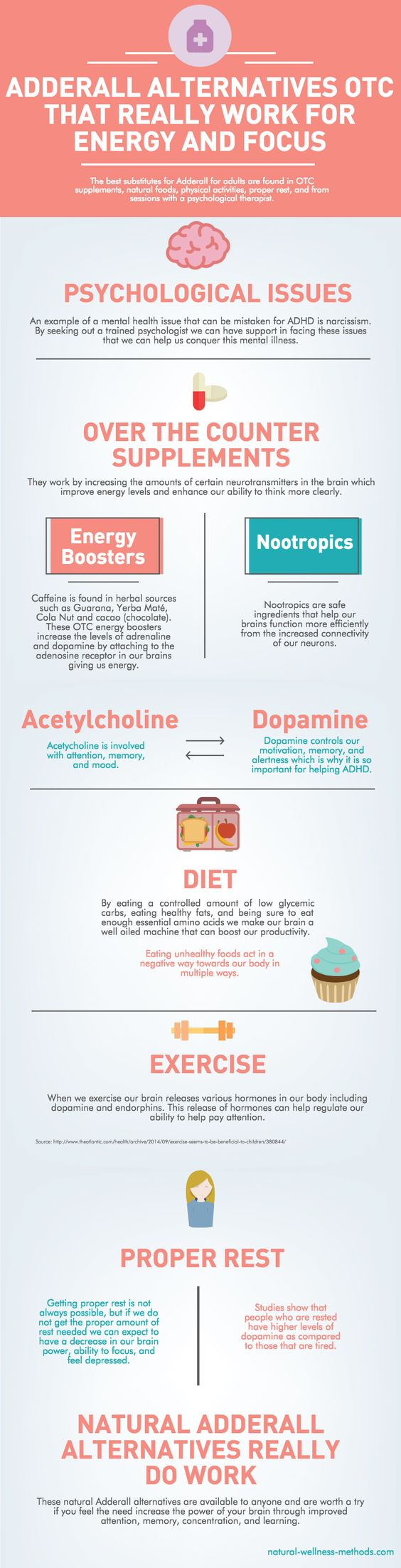 The following infographic shows that the best non-prescription stimulant pills for adults are found in OTC supplements, natural foods, physical activities, proper rest, and from sessions with a psychological therapist.