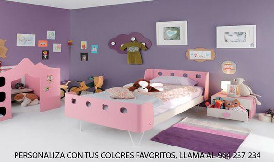 Dormitorio infantil HABITAT 109. Este original dormitorio infantil esta creado a partir de los colores blanco y rosa, pero se puede realizar en una gama muy amplia de colores y de acabados.