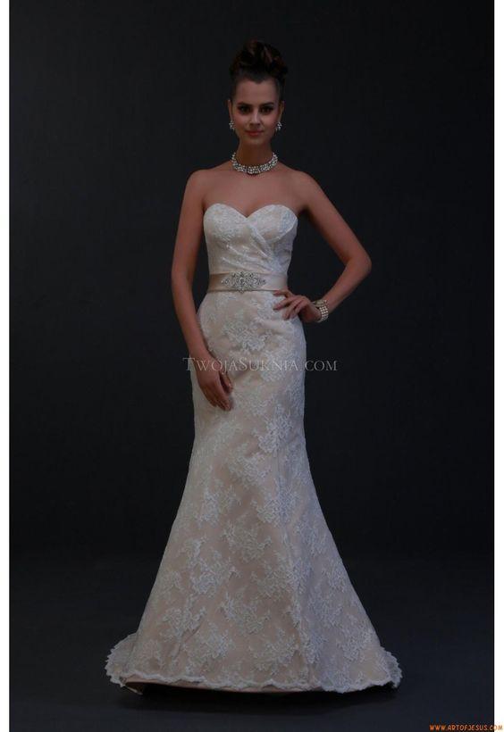 Meerjungfrau Exklusive Schlichte Brautkleider aus Sptítze mit Band