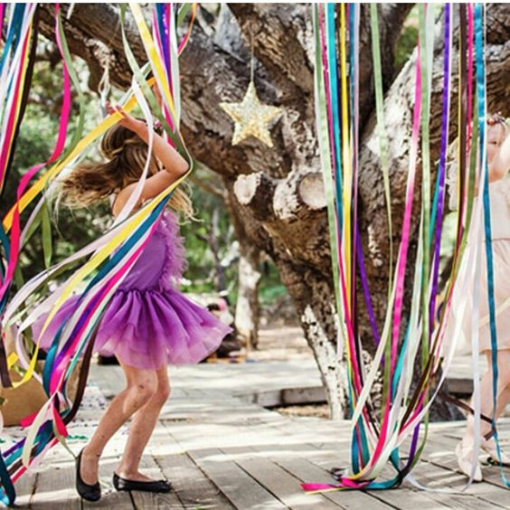 Flower fairy party - fabric streamers @fireandcreme
