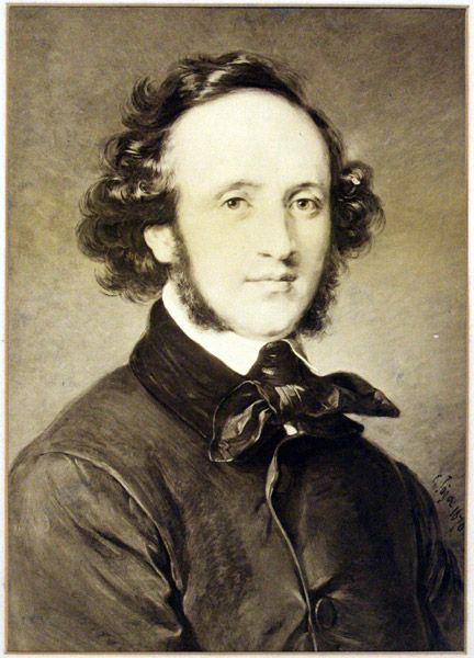 Felix Mendelssohn Bartholdy [born Felix Mendelssohn] (1809-1847), photograph (1872), by Friedrich Bruckmann (1814-1898), of a painting (1870), by Carl Jäger (1833-1887), after a painting (1846), by Eduard Magnus (1799-1872).