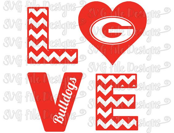 Chevron Love University of Georgia Bulldogs Football Logo Cutting File / Clipart in Svg, Eps, Dxf, Png, and Jpeg for Cricut and Silhouette