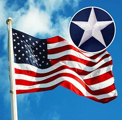 3x5 ft Nylon American USA Flag Sewn Stripes PRINTED Stars Brass Grommets Sd