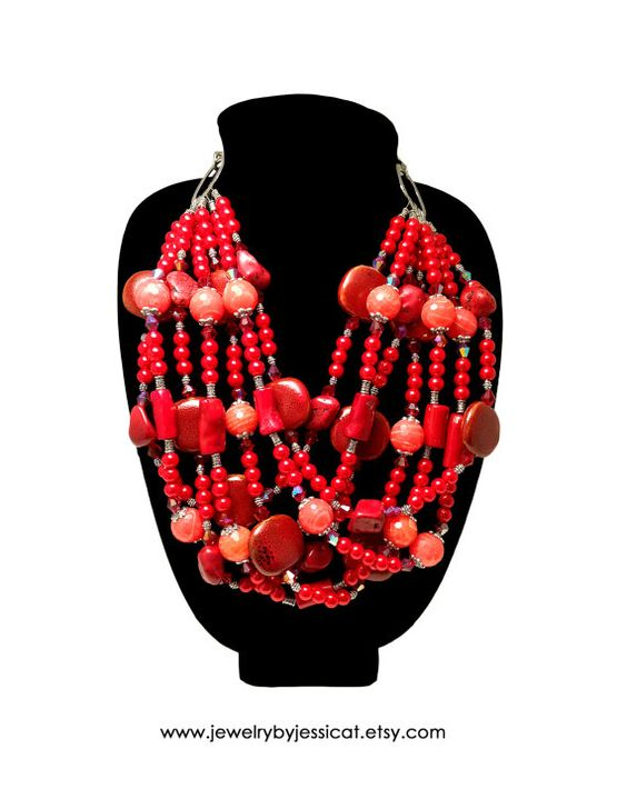 Combine gorgeous genuine coral gemstones with shiny glass pearls and sparkly crystals, and you have one amazing Jewelry by Jessica Theresa statement necklace bursting with ravishing red!   CLASSIC Statement Necklace Gemstone Red Coral by JewelryByJessicaT,