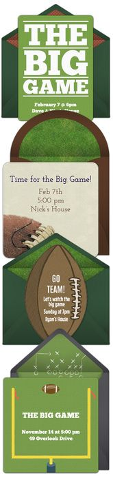 Paper invites are too formal, and emails are too casual. Get it just right with online invitations from Punchbowl. We've got everything you need for your Super Bowl party.   http://www.punchbowl.com/online-invitations/category/32/?utm_source=Pinterest&utm_medium=24.3P