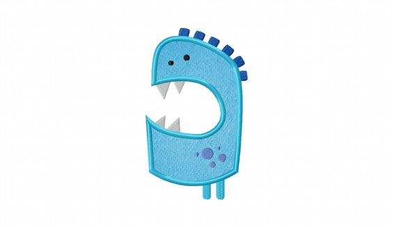 Blue Monster Includes Both Applique and Filled Stitch