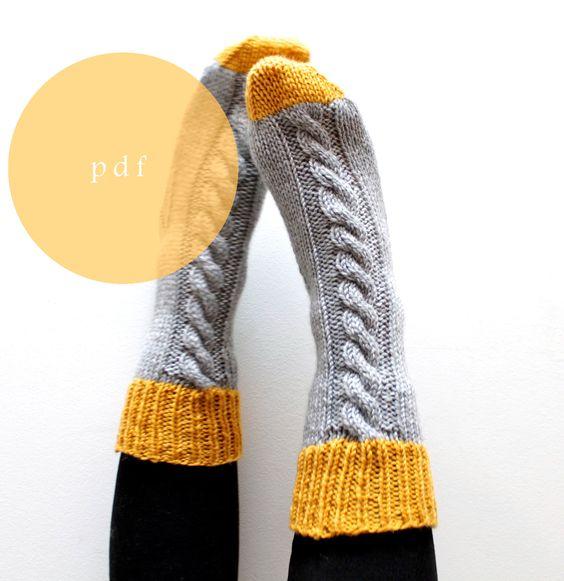 Knitting Patterns For Women s Socks : Sock Knitting Pattern INSTANT DOWNLOAD Slipper Socks, Thick socks, Bed Socks,...