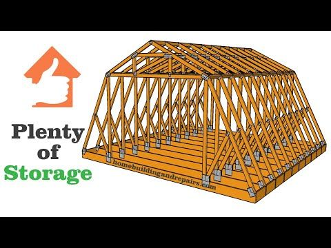 Gambrel Roof Truss Framing With Storage Over Two Car Garage Building Design Examples Youtube Gambrel Roof Trusses Gambrel Roof Roof Trusses