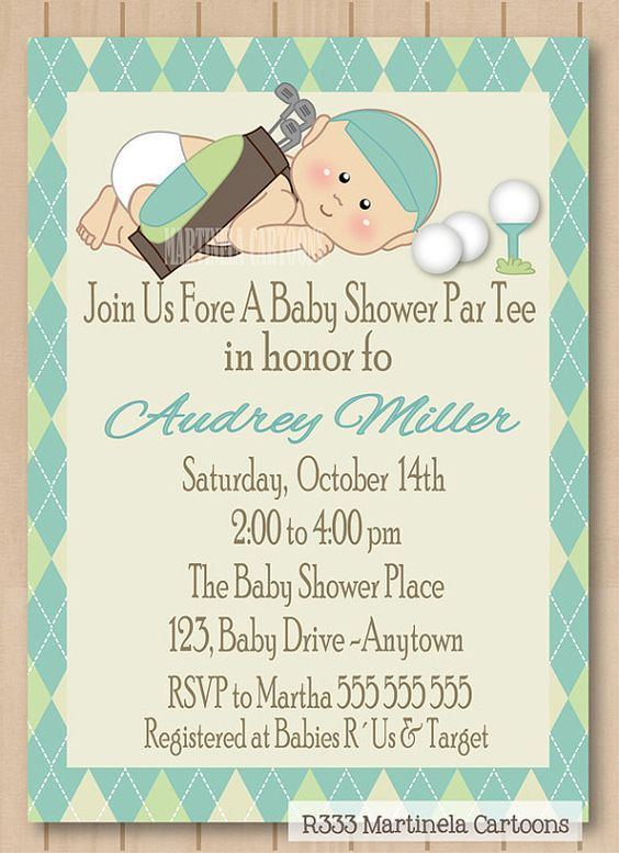 Golf baby shower invitation, golf par tee invite, blue green argyle pattern, one of a kind personalized baby boy digital invitation. on Etsy, $20.00