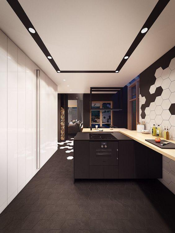 Apartments: Plasterlina Slate Tile Black Geometric Flooring Black And White Geometric Tile White Wooden Paneling: Lofted Opulence