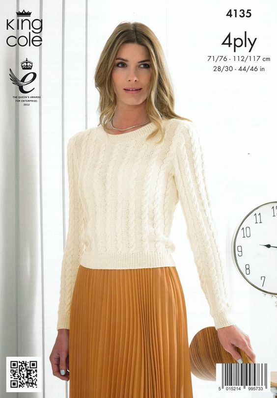 Ladies Cabled Sweater and Slipover in King Cole Bamboo 4 Ply (4135)