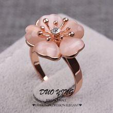 2015 anéis Anel de Ouro Kpop Anillos Ouro 18 k Filled laranja Opal flor anéis de noivado para mulheres(China (Mainland))
