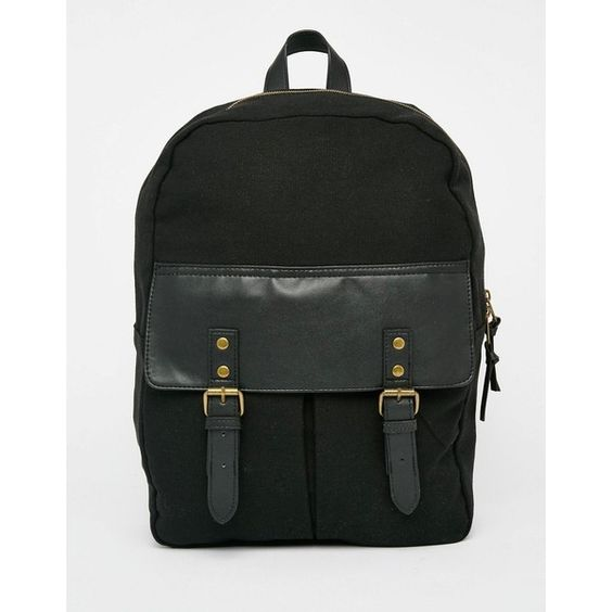 ASOS Backpack With Contrast Pocket ($37) ❤ liked on Polyvore featuring men's fashion, men's bags, men's backpacks, black and asos