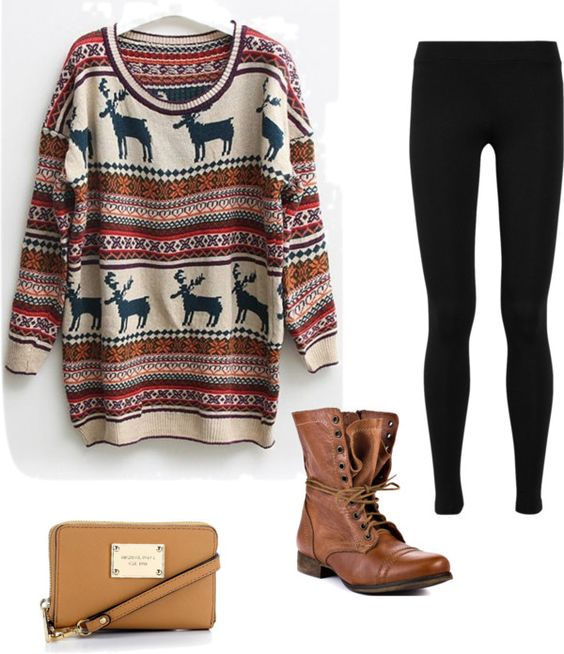 moose sweater, brown boots and leggings <3