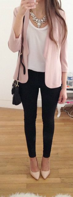 i already have a pink jacket like this but would like a pair of similar black dress pants, that are not quite so tight, so i can recreate this look. also like the blouse!