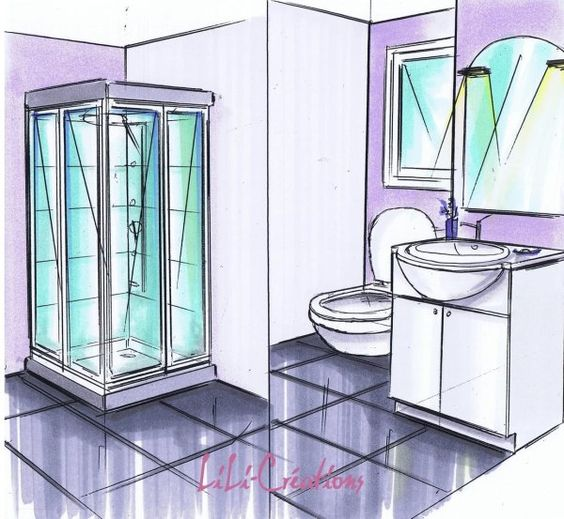 Architecture blog and design on pinterest for Salle de bain dessin