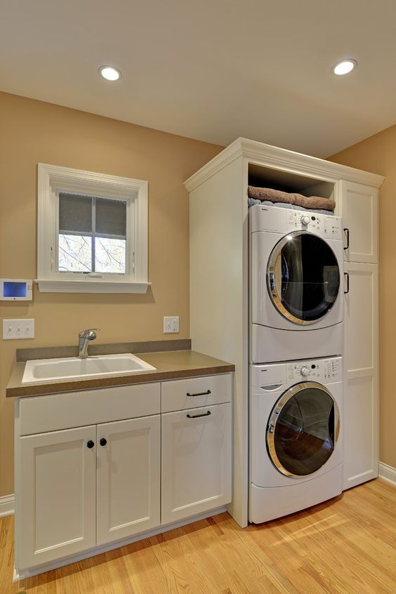 Stackable Washer And Dryer Laundry Room Traditional With Remodel