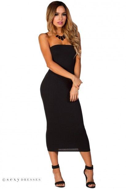 Tara&quot- Black Bodycon Strapless Midi Tube Dress - Tube dress ...