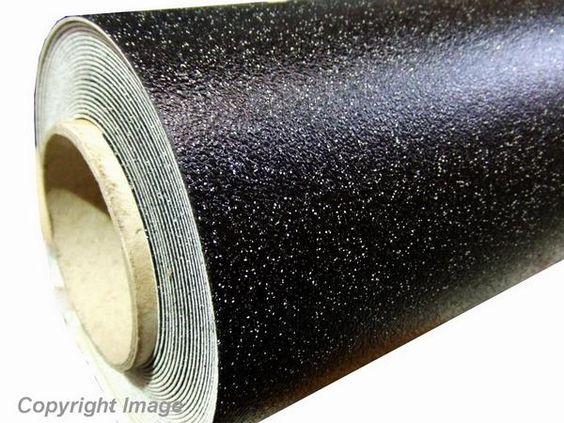 Black Sparkle Glitter Vinyl Flooring Floor 2m X 3m