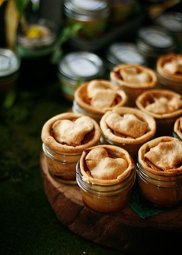 Apple pie in mini canning jars