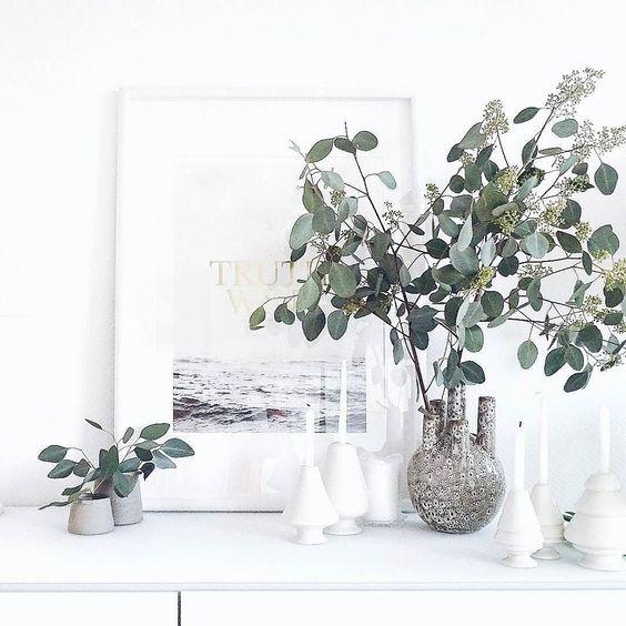 Moin...  Den kleinen Zweig Eukalyptus konnte ich gestern einfach NICHT in der Gärtnerei stehen lassen...  . Und für Lilli @kitschcanmakeyourich und ihre #instagraminteriorchallenge gibt es jetzt ein Bild auf meinem #shelf davon. . Almost weekend and very happy with this beautiful Eucalyptus...  . #eukalyptus #natural #naturalbeauty #green #gogreen #flowers #flowermagic #flowerslovers #flowerstagram #instaflowers #flowersofinstagram #flowersmakemehappy #flowerstyling #flowerblogger…