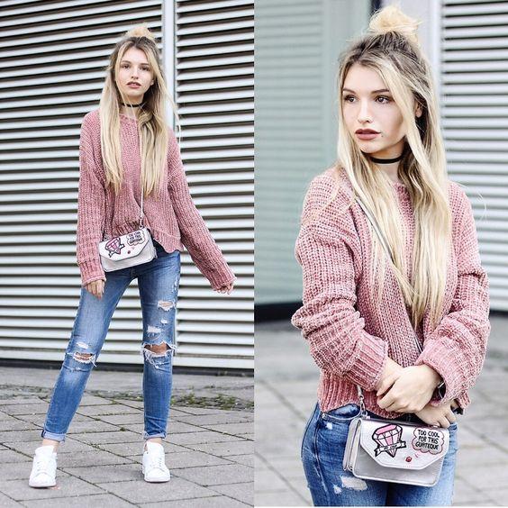 Franziska E. - Velvet Sweater + Metallic Bag