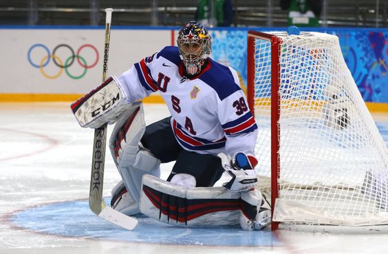 DAY 10:  Ryan Miller #39 of USA competes in the Ice Hockey Men's Preliminary Group A - Slovenia vs. USA http://www.spundge.com