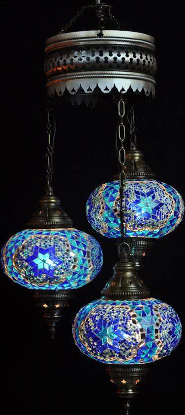 Hanglamp Blauw Glas Mozaiek Turkse Lamp Oosterse Lamp Kroonluchter 3 Turkse Lampen Lampen Kroonluchter Blauw Glas