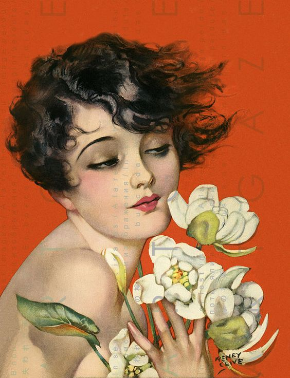 Gorgeous Flapper Girl Holding a Bunch of Magnolias Art by Artgaze