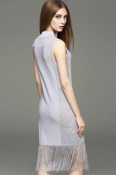 Tassel package hip Slim sleeveless dress -KnitFans
