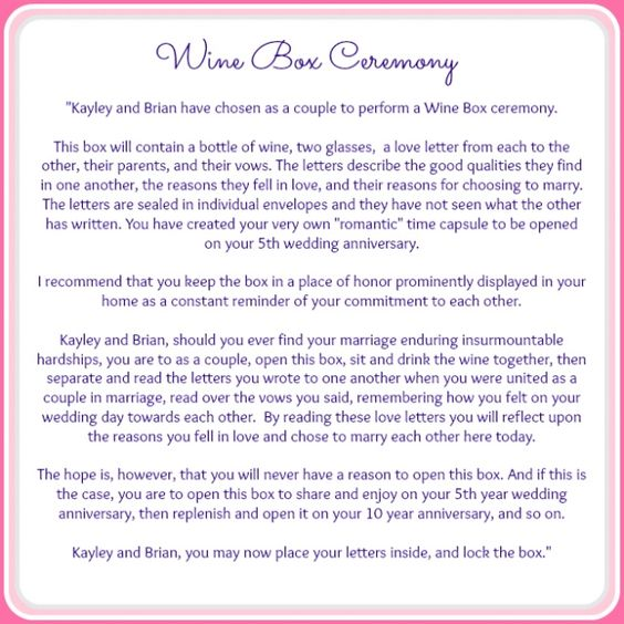 Wine Box Ceremony Wine Boxes And Serendipity On Pinterest