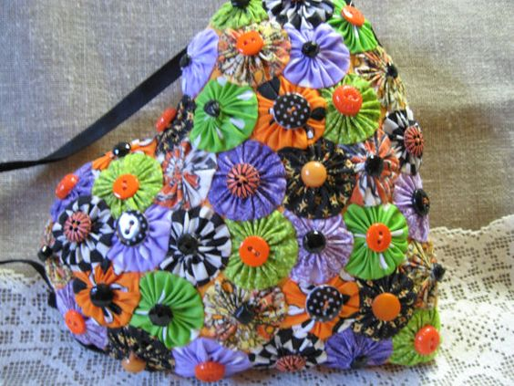 Vintage Orange Cutter Quilt Yo Yo Heart/ Handmade YoYo by 14carrot, $31.00