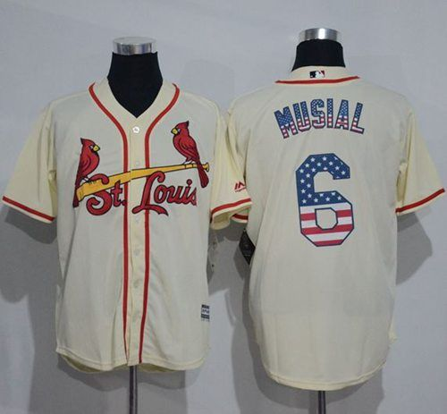 0d529a8b919 ... Cardinals 6 Stan Musial Cream USA Flag Fashion Stitched MLB Jersey  Mitchell And Ness ...