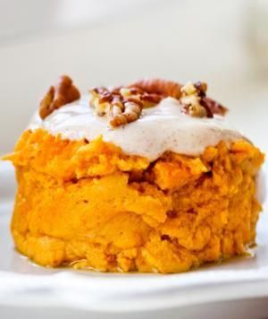 2-Minute Pumpkin Cake  Serves 1    -1/2 c. pumpkin puree  -1/4 c. egg whites  -1-2 packets of Stevia  -Cinnamon or pumpkin pie spice  -Plain Greek Yogurt  -Vanilla Extract    Mix together all the ingredients except yogurt and vanilla. Microwave for 2 min. Mix together yogurt and vanilla to make the frosting, then frost your cake! Sprinkle with almonds if you wish!