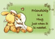 Friendship is a hug just when it is needed...