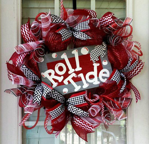 Alabama Wreath BAMA Houndstooth Deco Mesh by SouthernWreathsAL