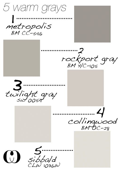 5 warm grays add to that behr silver drop and glidden for Creamy grey paint color