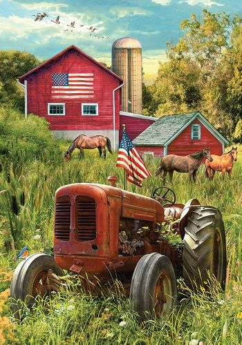 Custom Decor Flag Rustic Tractor Decorative Flag at Garden House