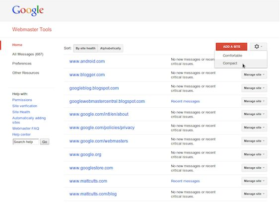 Google Webmaster Tools has a slightly different look.