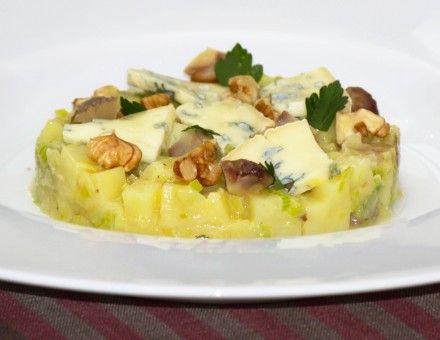 Risotto de pommes de terre lié de fourme d'Ambert, étuvée de poireaux et châtaignes  Plat Cook Angels, recette facile, Paris