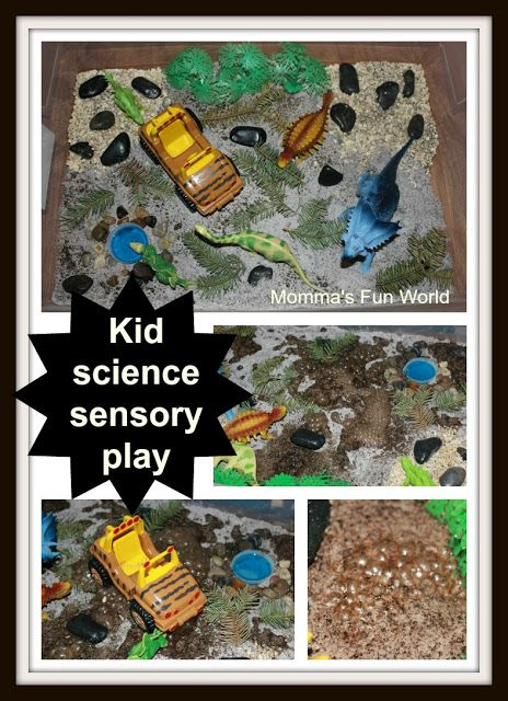 Momma's Fun World: Dinosaur sensory bin with erupting mud science
