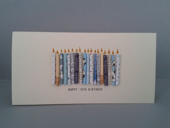 18th Birthday Cards Male ~ Happy th birthday candle card with paper candles male handmade on etsy cards